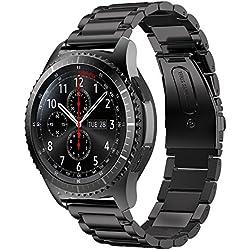 Sundaree Compatible avec Gear S3 Frontier Bracelet de Montre,22MM SM-R760 Bracelet Remplacement Bande de Poignet Acier Inoxydable Métal Bracelet Pour Samsung Gear S3 Frontier/Classic(S3 Acier Noir)