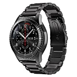 MroTech Correa para Gear S3 Frontier 22mm Acero Inoxidable Pulseras de Repuesto para Gear S3 Classic, Galaxy Watch 46mm, Amazfit Pace, Huawei 2 Classic, Pebble Time, Moto 360 2 46mm (Negro)