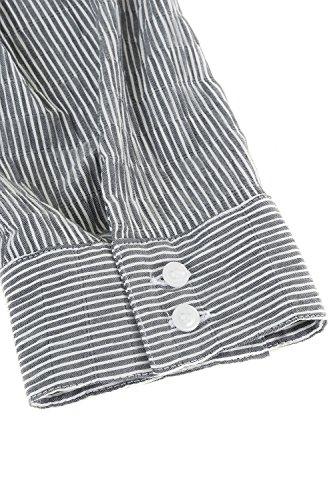 Ulla Popken Femme Grandes tailles Chemise à rayures Femme, Elégante en crépon à manches 3/4 Slim Blouses Mode féminine Chemisier 697563 Noir