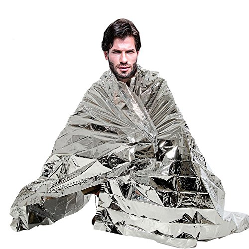 knowing 10er Rettungsdecke,Rettungsfolie,Rettungsfolie Notfalldecke,Erste Hilfe Decke,Feuchtigkeitsbeständig und Hitzebeibehaltung,210cm x 130cm,Silber
