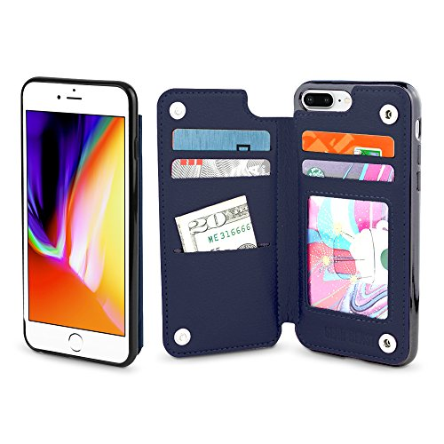 Gear Beast iPhone 7 Plus/8 Plus Wallet Case, Top View Flip Folio Fall für iPhone 7 Plus/8 Plus Slim PU Leder Cover 4 Kartenfächern, inkl. ID Halterung Bumper Schutz Hülle für Damen und Herren, Midnight Blue - Slim (Louis Blues Herren Leder)