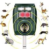 Wikomo Ultrasonic Pest Repeller, Solar Powered Waterproof Outdoor Animal Repeller with Ultrasonic Sound