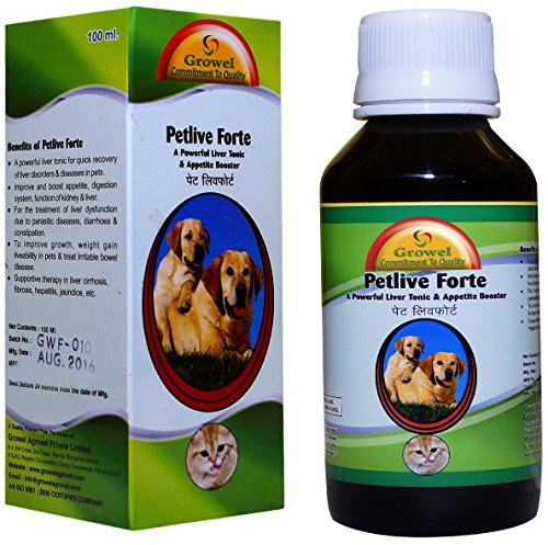 Growel Petlive Forte - A Powerful Digestive Tonic , Liver Tonic & Appetite Booster for Dogs & Puppy -100 ml