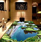 Yosot Modernes Kundenspezifisches 3D Fußbodenwandbild Alpines Meer Mural-3D Pvc-Tapete Selbstklebender Boden Tapete-3D-200Cmx140Cm