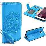 URCOVER® Mandala Pattern Case Wallet | Samsung Galaxy S7 Edge | Flip Cover Simil cuir in Bleu | Peau Coque Portefeuille Clapet Stand Rabat Élegant Étui Protection Portable