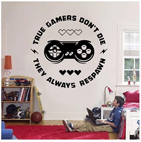 Wahre Gamer sterben nicht, sie respawnen immer Zitate Wandaufkleber Vinyl Kunst Wohnkultur Jungen Zimmer Spielzimmer Teen Schlafzimmer Aufkleber 61x57 cm