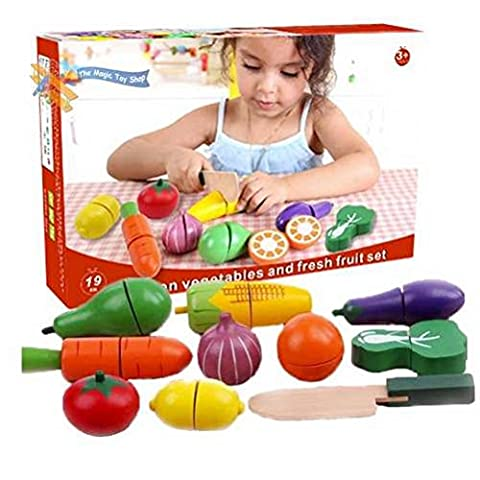 Great Gift For Kids ! 19 Pcs Wooden Vegetables And Fruit Set Veg Cutting Play Food Pretend Kitchen Toy / Game Play Educational Creative Toddler Boys Girls Unique Special Birthday Gift Party Christmas XMAS Present Idea Construction Garage Outdoor Child Kiddie Childrens Kids Home Lawn Room Yard Backyard Play Playing Classic Retro Little Learning Development Developmental Building Craft Art Drawing Action Popular Preschool Activity Traditional Stuff Cute