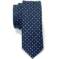 Retreez Corbata de microfibra fina con lunares de época tricolor para hombres Azul marino