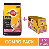 Pedigree Pro Large Breed Puppy Dry Dog Food, 3 kg + Puppy Wet Dog Food, Chicken Chunks in Gravy, 80 g (1.2 kg, 15 Pouches)