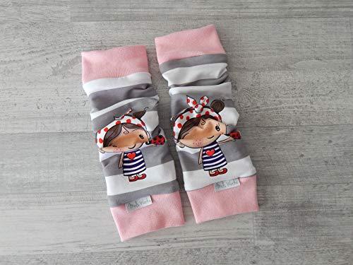 Stulpen Baby Kleinkind, Beinstulpen Jersey gestreift in grau-weiß mit Käferherzmädchen, Bündchen rosa. 95% Baumwolle, 5% Elasthan. Länge ca. 27cm, Breite einfach ca. 8cm