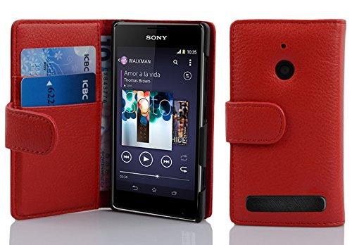 Cadorabo Hülle für Sony Xperia E1 Hülle in INFERNO Rot Handyhülle mit Kartenfach aus Struktriertem Kunstleder Case Cover Schutzhülle Etui Tasche Book Klapp Style Inferno-Rot