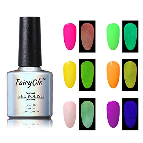 UV LED ablösbarer Nagellack Set Gel Nageldesign Set UV LED Soak Off Glow in the Dark 6pcs Gellack Gel Polish von Fairyglo 10ml-Set005
