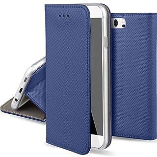 Moozy Hülle Flip Case für Huawei P10, Dunkelblau - Dünne magnetische Klapphülle Handyhülle mit Standfunktion