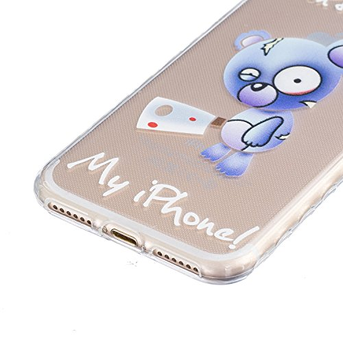 Custodia TPU per iPhone 7 Cover,ZCRO Flessibile Morbido TPU Sottile Slim Antiscivolo Caso Protettiva Bumper Gomma Case Cover per iPhone 7 4.7 Pollici con Pellicola Protettiva (Plum Blossom Flower) Orso Blu