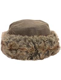 Cappello invernale da donna in pelle effetto trapuntato e finta pelliccia  nero o marrone 64bc964f5e15