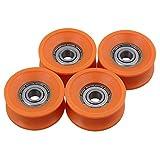 Lot de 4 roulements à billes SGerste - 6x 30x 13mm - Recouverts de plastique - Étanches - En acier - 606ZZ - Sillon de guidage profond en U - Pour poulie, rail, roue - Oranges