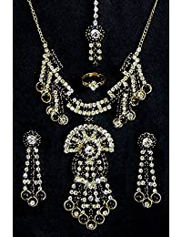 DollsofIndia Black And White Stone Studded Necklace, Earrings, Ring And Mang TIka - Stone And Metal (FG76-mod)...