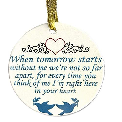 Banberry Designs In Loving Memory Weihnachten Ornament-Wenn Mir Morgen Beginnt ohne Sagen,-Memorial Weihnachten Ornament mit Tauben und Herzen