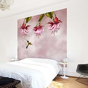 apalis vliestapete blumentapete kolibri fototapete quadrat. Black Bedroom Furniture Sets. Home Design Ideas