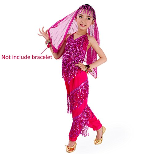 SymbolLife Petites filles Belly Dance costume, pantalon de harem + Halter Top + Head Sets Echarpe Rose