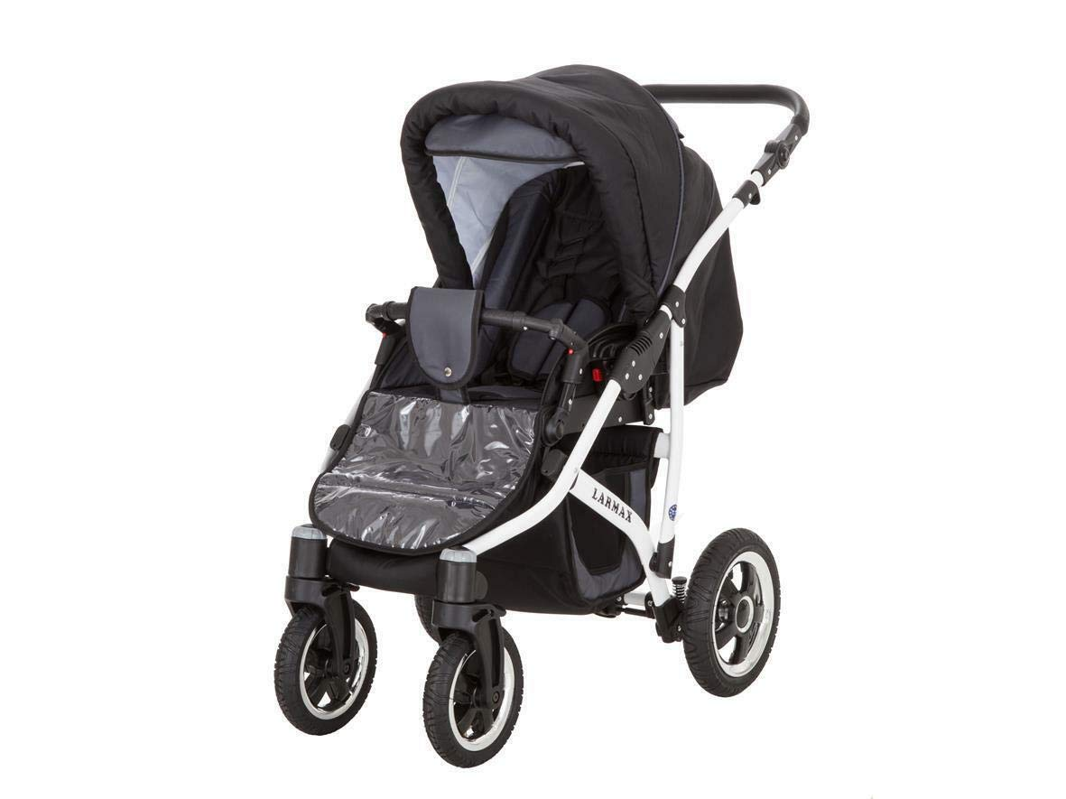 SaintBaby Stroller Pram 2in1 3in1 Set All in one Baby seat Buggy Pushchair New L-GO Black 3in1 with Baby seat SaintBaby 3in1 or 2in1 Selectable. At 3in1 you will also receive the car seat (baby seat). Of course you get the baby tub (classic pram) as well as the buggy attachment (sports seat) no matter if 2in1 or 3in1. The car naturally complies with the EU safety standard EN1888. During production and before shipment, each wagon is carefully inspected so that you can be sure you have one of the best wagons. Saintbaby stands for all-in-one carefree packages, so you will also receive a diaper bag in the same colour as the car as well as rain and insect protection free of charge. With all the colours of this pram you will find the pram of your dreams. 8