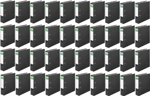 Norrun Karton mit 40 Stück Aktenordner Größe: Din A4 8cm breit Farbe: wolkenmarmor Ordner Büroordner Aktenordnern Made in Germany