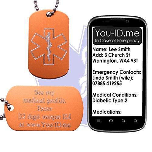 DIABETIKER Medical Alert ID SOS Halskette Tag Licht Orange Gravur Aluminium Armee Dog Tag Schmuck Anhänger. Smartphone Gerät Medic Alert Service www.you-id.me. Notfall Identität Talisman SMS optional -