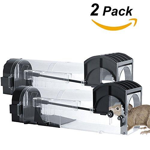 QZY Smart Mousetrap, Safe Capture Mäuse No Töten Live Catch with, Safe Kids und Haustiere,2Pack