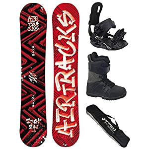 Airtracks Snowboard Komplett Set – DIRTY BRUSH Wide Rocker + Snowboardbindung Star + Snowboardboots + Sb Bag / 150 153 155 158 160 cm