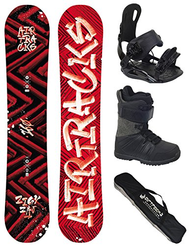AIRTRACKS Snowboard Komplett Set / DIRTY BRUSH Wide Rocker + Snowboardbindung Star + Snowboardboots + Sb Bag / 150 153 155 158 160 cm 3