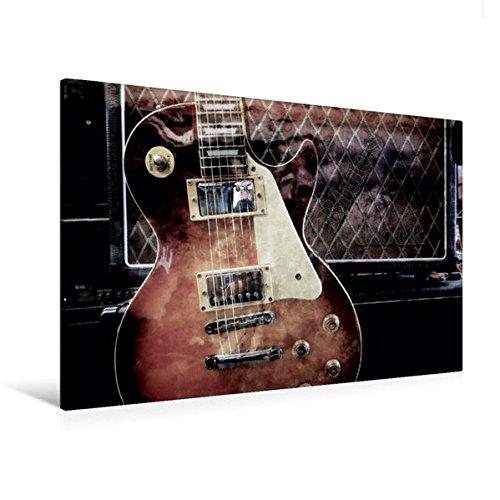 Premium Textil-Leinwand 120 cm x 80 cm quer, Blues Rock | Wandbild, Bild auf Keilrahmen, Fertigbild auf echter Leinwand, Leinwanddruck: Les Paul Style vor Gitarrencombo (CALVENDO Kunst)