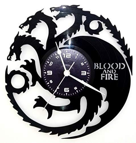 Wanduhr Vinyl LP 33U Instant Karma Geschenk Vintage Handmade–Serie TV–Der Thron von Schwertern–Game Of Thrones–Targarien