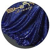 ShinyBeauty Pailletten-Stoff Meterware Navy-blau 1 Meter