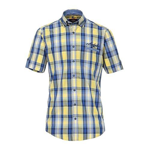 CasaModa Kurzarmhemd gelb-blau kariert Übergröße Mehrfarbig