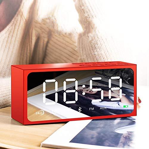 Xiaoqingren Digitaler Wecker führte Spiegel drahtlose Bluetooth-Lautsprecher schwere Bass-Lautsprecher Tischplatten Uhren mit FM-Radio,rot (Fm-radio-basslautsprecher)