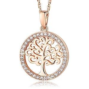 MEGA CREATIVE JEWELRY Damen Kette Lebensbaum aus 925 Sterling Silber mit Kristallen von Swarovski