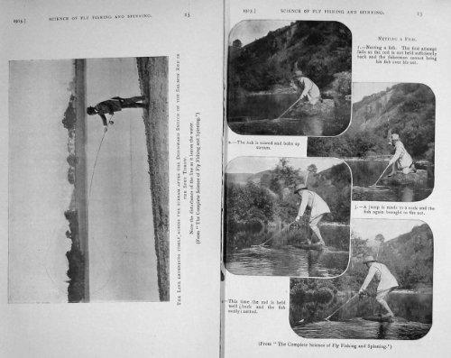 original old antique victorian print 1915 Saumons Spey...