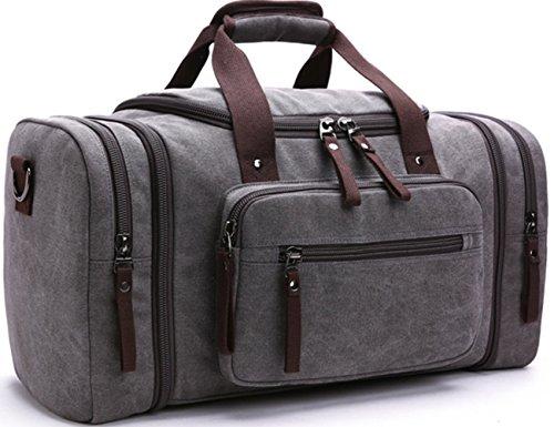 Limirror vintage Canvas Reisetasche Sporttasche weekender Tasche für Damen und Herren mit der Großen Kapazität (Grau)