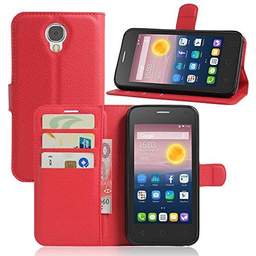 Tasche für Alcatel Pixi 4 (5.0 zoll) 5010D 3G Version Hülle, Ycloud PU Ledertasche Flip Cover Wallet Case Handyhülle mit Stand Function Credit Card Slots Bookstyle Purse Design rote