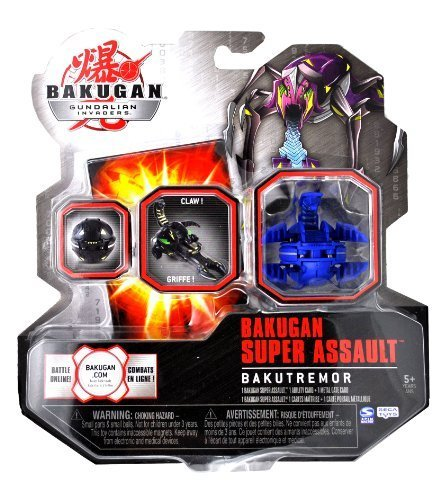 Spin Master Year 2010 Bakugan Gundalian Invaders Super Assault Series BakuTremor Single Figure - Aquos Blue CLAWSAURUS with 1 Ability Card and 1 Metal Gate Card Plus Hidden DNA Code by Spin Master