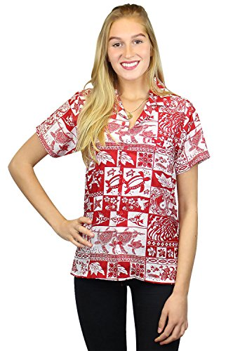 King Kameha | Funky Chemisier Hawaïenne | Femmes | XS - 6XL | Manche-Courte | Poche-Avant | Hawaiian-Imprimer | Puzzle | Rouge Rouge