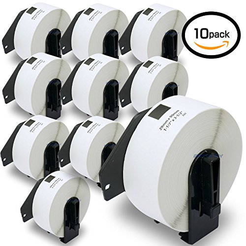 10 Rolls Brother-Compatible DK-11201 P-Touch 29mm x 90mm 4000 Die-Cut Standard Address Labels With Refillable Cartridge