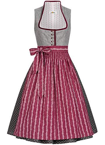 Almsach Damen Trachten-Mode Midi Dirndl Dora traditionell Gr.32-54, Größe:34, Farbe:Grau/Weinrot