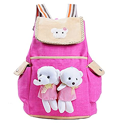 EveryGo1 Children Schoolbag, Cute Child Backpak, Beautiful Girls backpack for 6-12 Years Old, Children's Cartoon Backpack, Cartoon Bear Doll Backpack (Rose red)
