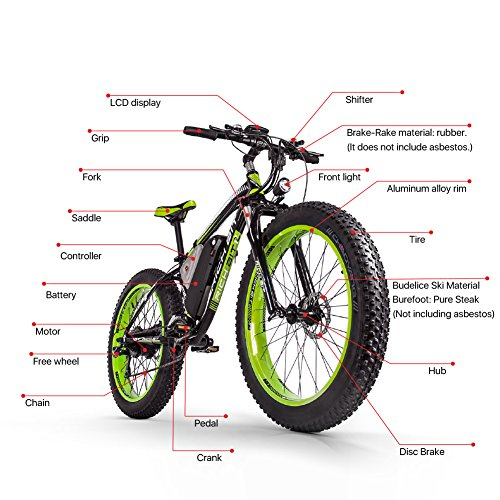 eBike_RICHBIT 26 pulgadas S de montaña, Mountain Bike E-Bike, 1000 W