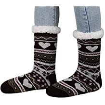 KOBWA Calcetines con Pinzas, Forro Polar para Mujer, Calcetines Antideslizantes, Ultra Suaves,