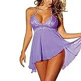 Dessous Set YunYoud Damen große Größe Lingerie Frau Spitze Kleid Perspektive nachtwäsche Versuchung Unterwäsche Nähen Sleepwear Stickerei Pyjama + G-String (Lila, XL)