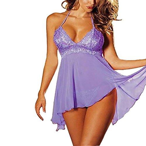 Dessous Set YunYoud Damen große Größe Lingerie Frau Spitze Kleid Perspektive nachtwäsche Versuchung Unterwäsche Nähen Sleepwear Stickerei Pyjama + G-String (Lila, M) (Kurze Spitze Panty)