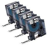 4 Schriftband Etikettenband kompatibel Dymo D1 45013 S0720530 Schwarz auf