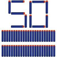 Toyshine 50 Pcs Foam Dart Refill Pack Bullets, Round Head, Blue
